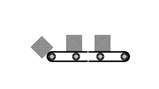 Animation of the conveyor belt Operation of the conveyor conveyor belt stock videos & royalty-free footage