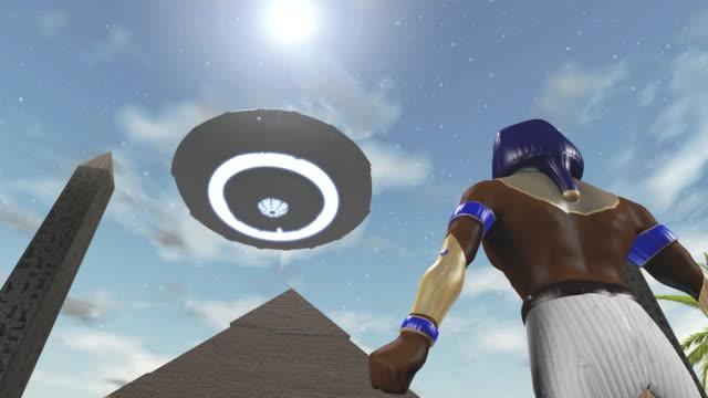 animation of the egyptian god horus and an ufo - obelisk stok videoları ve detay görüntü çekimi