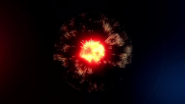 3D animation of the energy abstract molecule inside the planet earth video