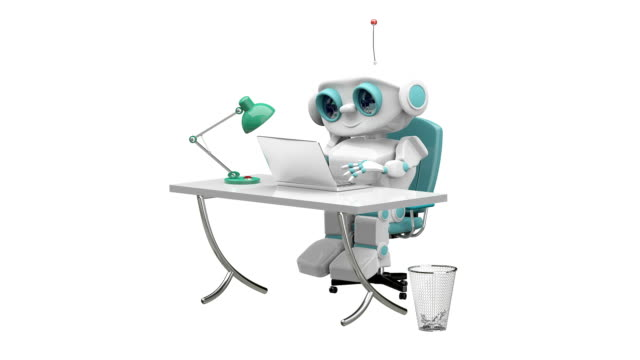 3D Animation of the Little Robot Behind the Table with Alpha Channel video