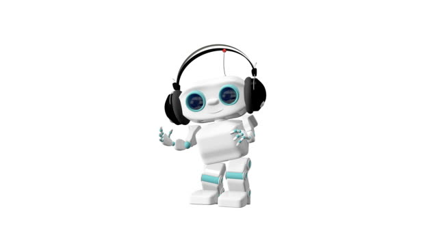3D Animation of the Little Robot Dances in the Headphones Alpha Channel video