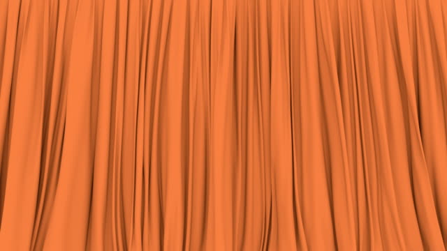 3d animation of the orange stage curtain - sipario video stock e b–roll