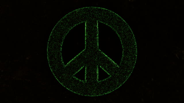 3D animation of the peace symbol on fresh green grass.