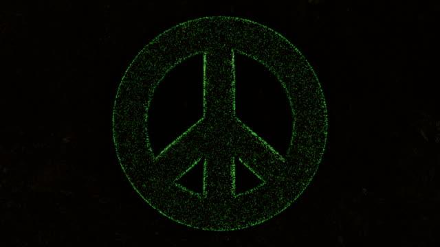 animation 3D du symbole de paix sur l'herbe verte fraîche. - Vidéo