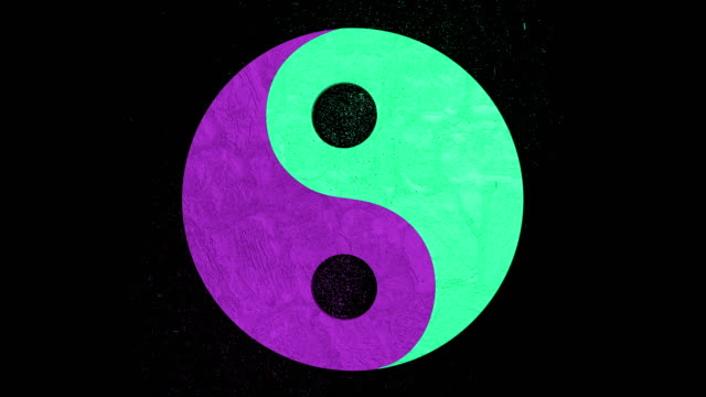 3D animation of the stylish balance (yin yang) symbol with mars and venus signs. Alpha channel included