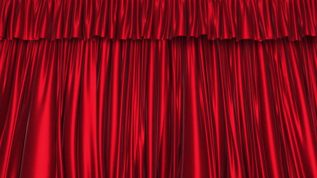3d animation of the textured red curtain - sipario video stock e b–roll