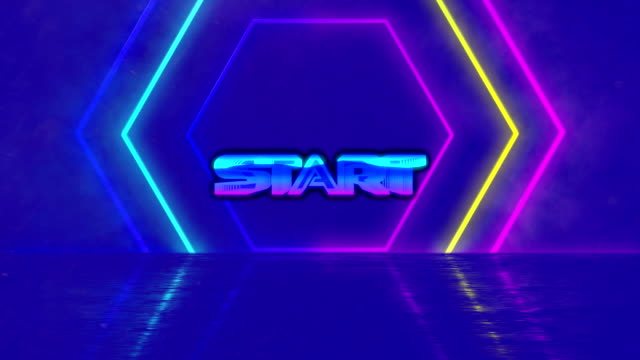 Animation of the word START on video computer game screen