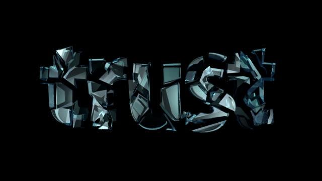 animasyon camdan kelime güven kırık ve yok etti. son güven - güven stok videoları ve detay görüntü çekimi