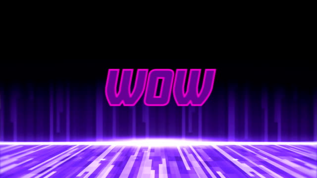 Animation of the word Wow on video computer game screen