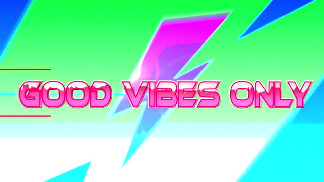 Animation of the words Good Vibes Only over pink and green lines