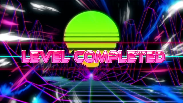 Animation of the words Level Completed written in pink metallic letters