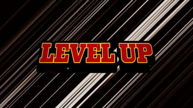 Animation of the words Level Up on video computer game screen