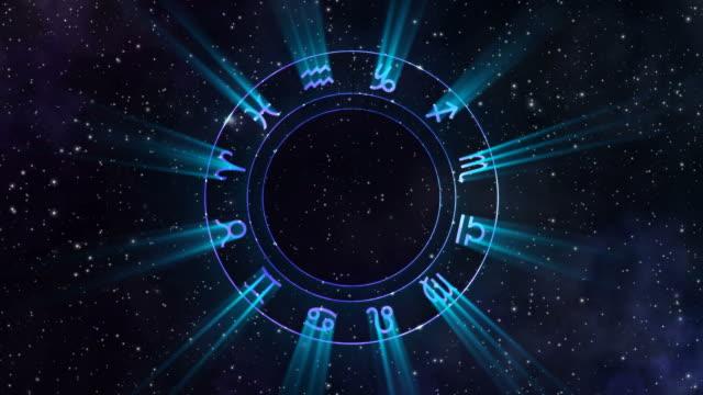 vídeos de stock e filmes b-roll de animation of the zodiac wheel gyrating in the space - astrologia