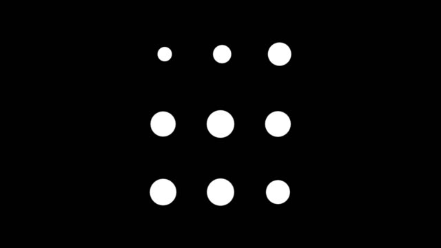 vídeos de stock e filmes b-roll de animation of three rows of dot circles blinking on the black background. animation. spinning black circles or dots creating the effect to animation pattern - sarapintado