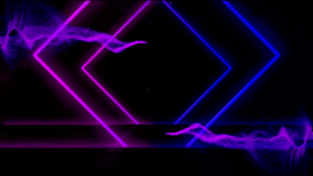 Animation of tunnel  glowing geometric outlines purple and blue moving on black background
