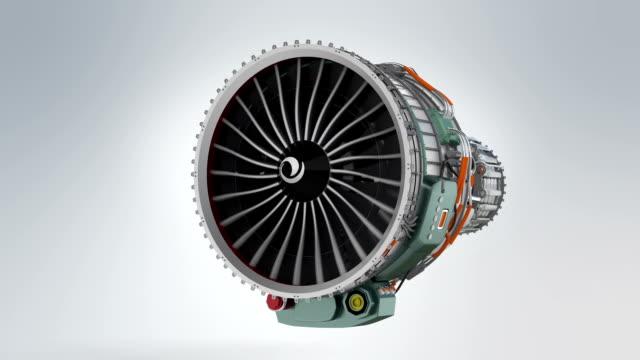 Animation of turbofan jet engine on gray background video