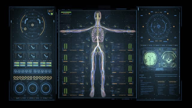 Animation of user interface HUD with body analysis and dna moving on dark background for cyber futuristic concept with grain processed video