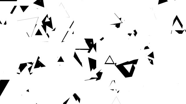 Animation of various shape of triangle in black and white loop. Best for transition in video editing. Alpha Channel included. video