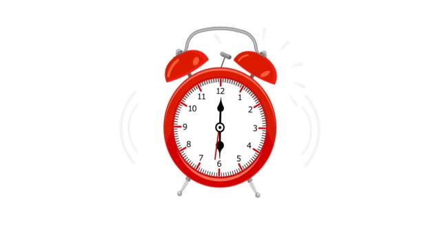 animering av vintage alarm klocka ringer. animation med valfria luma matt. alpha luma matt ingår. 4k-video - alarm clock bildbanksvideor och videomaterial från bakom kulisserna