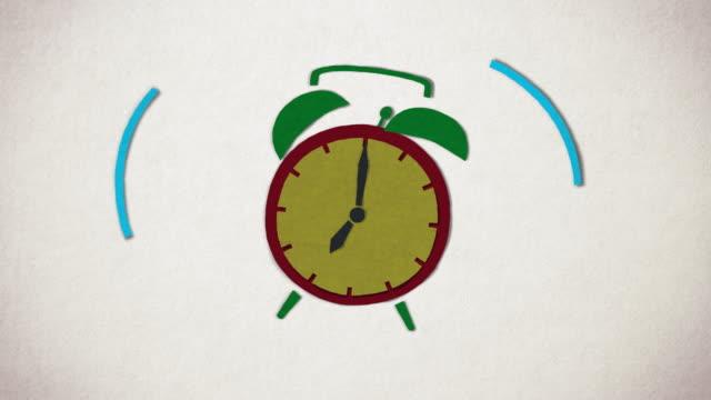 animering av vintage alarm klocka ringer. stop motion animation stil. - alarm clock bildbanksvideor och videomaterial från bakom kulisserna