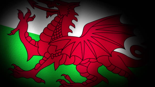 3d Animation Of Wales Welsh Flag Closeup Canvas Texture
