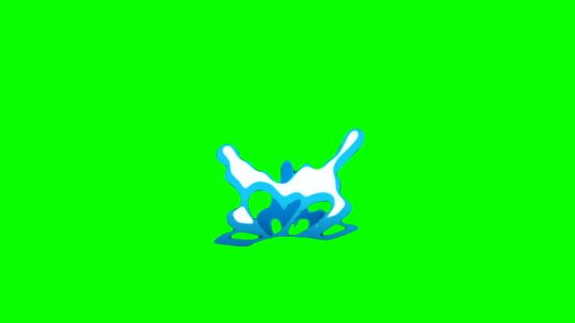 Animation of Water Cartoon Green Box Overlay Alpha Channel - Infinite Loop