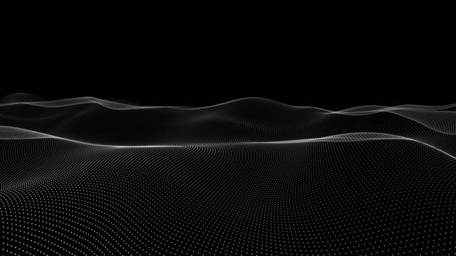 Animation of wave motion black and white abstract background with wavy lines of dots