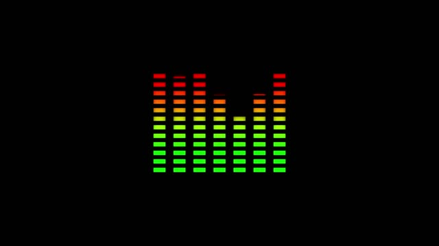 Animation of waveform with visualization of audio wave with color changing from green to red on black background