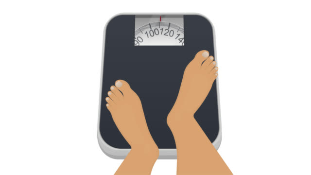 Animation of weighing on the scales. Feet on the scale. Cartoon