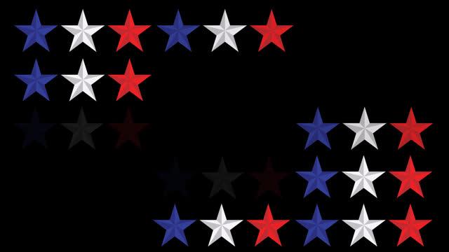 vídeos y material grabado en eventos de stock de animación de estrellas blancas, azules y rojas de la bandera de estados unidos en filas sobre fondo negro - independence day