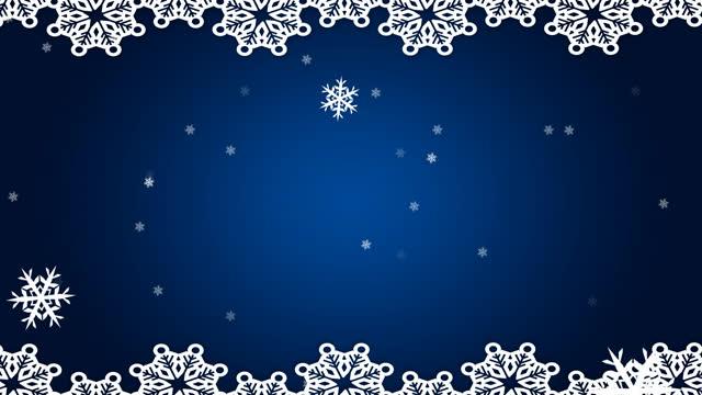파란색 배경에 떨어지는 흰색 크리스마스 장식과 눈송이의 애니메이션 - christmas decorations 스톡 비디오 및 b-롤 화면