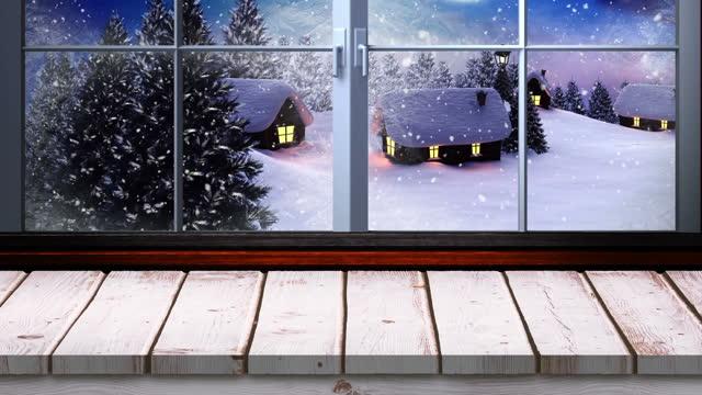 vídeos de stock, filmes e b-roll de animação do cenário natalino de inverno com neve caindo sobre árvores e casas vistas pela janela - feriado evento