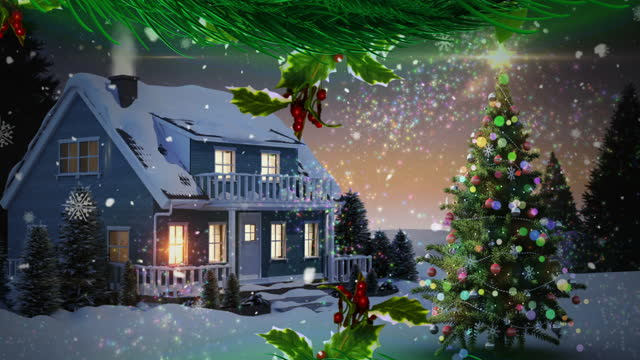 Animation of winter scenery with lit house