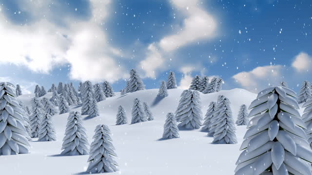 Animation of winter scenery with snow falling and fir trees covered in snow