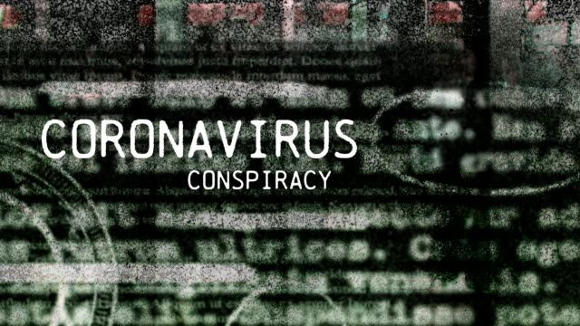 animation of words coronavirus conspiracy with newspaper pages over people walking on street - conspiracy стоковые видео и кадры b-roll