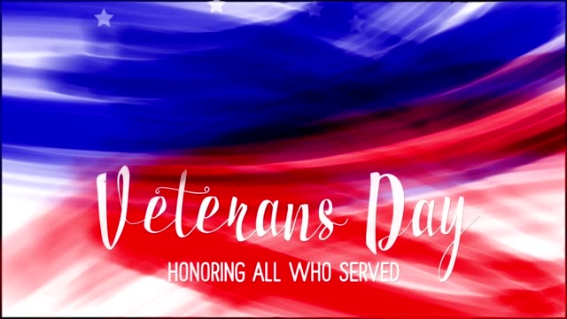 animation of words veterans day on background of usa flag grunge drawing. blue, red watercolor stripes, falling white stars. template for usa national holiday banner, greeting card, invitation, poster, flyer, etc - veterans day filmów i materiałów b-roll