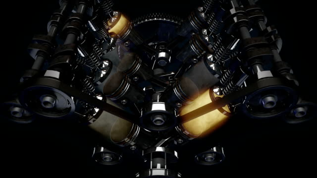 Animation of working v8 engine Inside. HD video