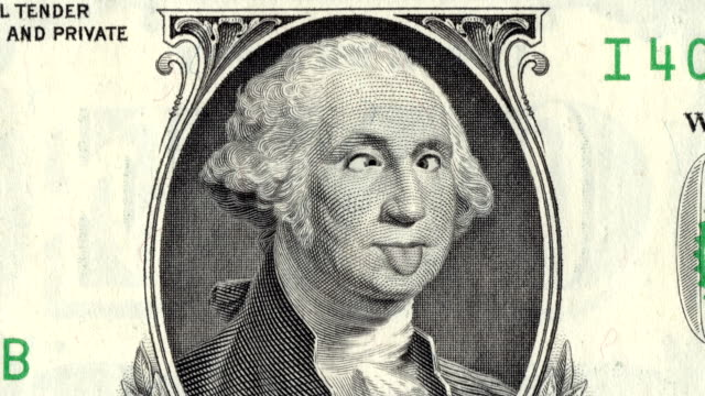 Animation Of Zoom In To Close-up Of George Washington Grimacing And Showing Tongue On US One Dollar Bill. 4K.