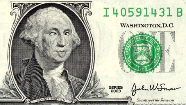 Animation Of Zoom In To Close-up Of George Washington Grimacing And Showing Tongue On US One Dollar Bill.