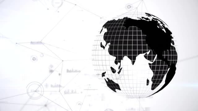 Animation ofAnimation of a black and white turning globe against data conections against white backg
