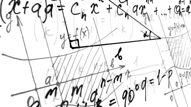 数学上のアニメーション。数式とスケジュール。 - 数学の授業点の映像素材/bロール