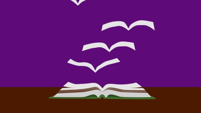 2D animation, open book lying on the table at violet background. Book pages flying up like birds and leaving. Spread of knowledge all over the world. Concept of education, intelligence, literature.
