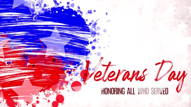animation. painted, blue-red heart with stars, red lettering inscription veterans day, on white background. template for usa national holiday banner, greeting card, invitation, poster, flyer, etc - veterans day filmów i materiałów b-roll
