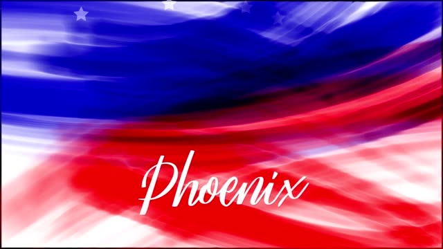 Animation. Phoenix. Background of USA flag abstract grunge drawing. Blue, red watercolor stripes, falling white stars. Template for USA national holiday banner, greeting card, invitation, poster, flyer, etc