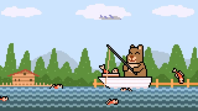 animation pixel art bear fishing animation pixel art bear fishing fishing rod stock videos & royalty-free footage