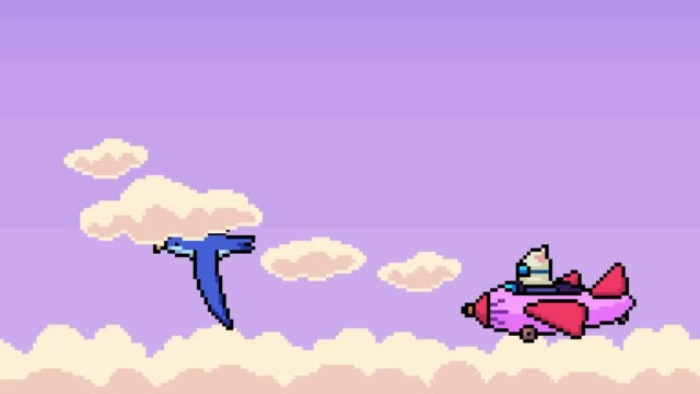 vídeos de stock e filmes b-roll de animation pixel art bird airplane flying on sky - organismo vivo