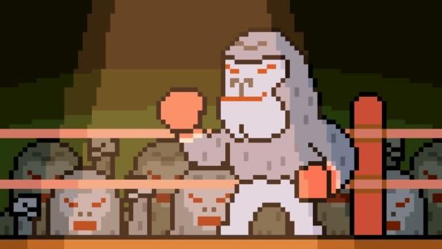 animazione pixel art gorilla boxing - fumetto creazione artistica video stock e b–roll