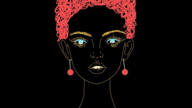 vídeos de stock e filmes b-roll de animation portrait of cute carroty girl - afro americano