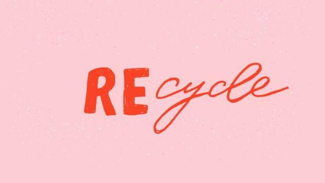 animation reduziert wiederverwendung von wiederverwendungs-recyklon handgezeichnete wörter - comic font stock-videos und b-roll-filmmaterial