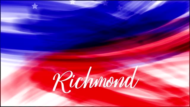 Animation. Richmond. Background of USA flag abstract grunge drawing. Blue, red watercolor stripes, falling white stars. Template for USA national holiday banner, greeting card, invitation, poster, flyer, etc